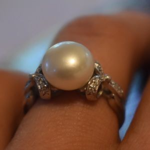 authentic pearl diamond sterling silver ring